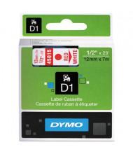 "Dymo D1 45015 Polyester 1/2"" x 23 ft. Label Maker Tape, Red on White"