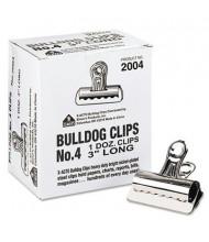 """X-Acto 1"""" Capacity Nickel-Plated Bulldog Clips, 12/Box"""