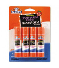 Elmer's .24 oz Washable School Glue Sticks, Purple Application, 4/Pack
