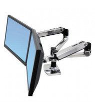 "Ergotron LX 20.9"" H Dual Side-by-Side Arm Desk Mount for Monitors up to 24"", Aluminum/Black"
