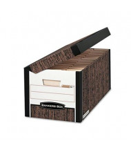 "Bankers Box 12-1/8"" x 15"" x 10"" Letter & Legal FastFold Flip Top File Storage Boxes, 12/Carton, Woodgrain"