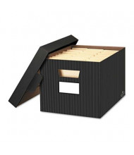 "Bankers Box 12-1/2"" x 16-1/4"" x 10-1/4"" Letter & Legal Stor/File Decorative Storage Boxes, 4/Carton, Pinstripe"