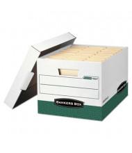 """Bankers Box 12"""" x 15"""" x 10"""" Letter & Legal R-Kive Storage Boxes, 12/Carton, White/Green"""