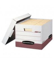 "Bankers Box 12"" x 15"" x 10"" Letter & Legal R-Kive Max Storage Boxes, 12/Carton, White/Red"