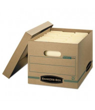 "Bankers Box 12"" x 15"" x 10"" Letter & Legal Stor/File Storage Boxes, 12/Carton, Kraft/Green"
