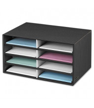Bankers Box 8-Compartment Decorative Literature Sorter, Letter, Black/Gray Pinstripe