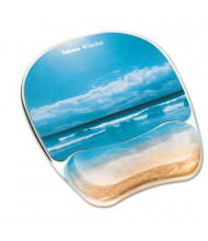 """Fellowes 9-1/4"""" x 7-1/3"""" Photo Microban Mouse Pad with Wrist Rest, Sandy Beach"""