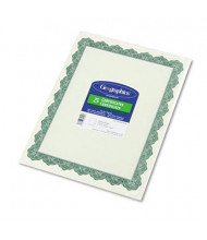"Geographics 8-1/2"" x 11"", 24lb, 25-Sheets, Optima Green Border Parchment Paper Certificates"