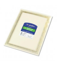 "Geographics 8-1/2"" x 11"", 24lb, 12-Sheets, Gold Flourish Border Foil Enhanced Certificates"