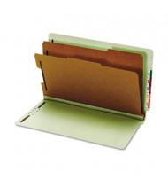 Globe-Weis 6-Section Legal Pressboard 25-Point End Tab Classification Folders, Green, 10/Box