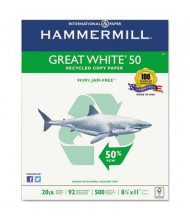 "Hammermill Great White 8-1/2"" x 11"", 20lb, 5000-Sheets, 50 Recycled Copy Paper"