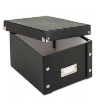 """Snap-N-Store Collapsible Index Card File Box Holds 1100 5"""" x 8"""" Cards, Black"""