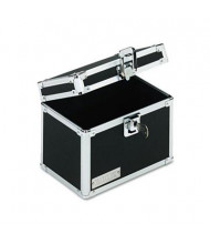 "Vaultz Locking Index Card File with Flip Top Holds 450 4"" x 6"" Cards, Black"