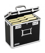 "Vaultz 7-1/4"" D Letter Locking File Tote Storage Box, Black"