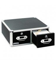 "Vaultz Locking Two-Drawer Index Card Box Holds 3000 5"" x 3"" Cards, Black"