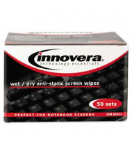 Innovera Anti-Static Wet & Dry Screen Wipes Box, 50 Wipes
