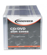 Innovera 100-Pack CD & DVD Polystyrene Thin Line Storage Case, Clear