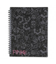"Pink & Black 6-1/4"" X 8-1/4"" 70-Sheet Wirebound Notebook, Floral Cover"