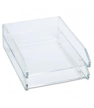 "Kantek 2-1/2"" H Two-Tier Acrylic Double Letter Tray, Clear"