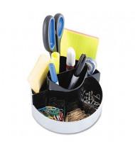 Kantek Plastic Rotating Desk Organizer, Black/Silver