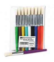 Charles Leonard Round Natural Bristle Stubby Brush Set, 10/Set