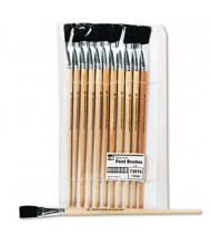 Charles Leonard Size 18 Flat Natural Bristle Long Handle Easel Brush, 12/Pack