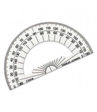 "Charles Leonard 4"" Ruler Edge Clear Plastic Protractor"