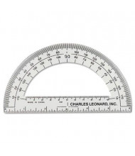 "Charles Leonard 6"" Ruler Edge Clear Plastic Protractor, 12-Pack"