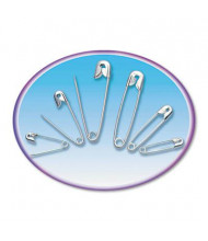 Charles Leonard Assorted Nickel-Plated Steel Safety Pins, 50/Pack