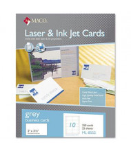 "Maco 2"" X 3-1/2"", 250-Cards, Gray Microperforated Business Card Stock"