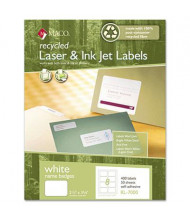 "Maco 3-3/8"" x 2-1/3"" Recycled Name Badge Labels, White, 400/Box"
