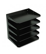 SteelMaster 5-Section Steel Multi-Tier Horizontal Letter Organizer, Black