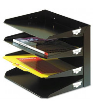 SteelMaster 4-Section Steel Multi-Tier Horizontal Letter Organizer, Black