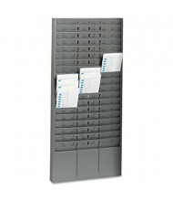 SteelMaster 54 Pockets with Adjustable Dividers Steel Time Card Rack, Gray