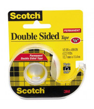 "Scotch 1/2"" x 12.5 yds Double-Sided Permanent Tape with Dispenser, Clear, 1"" Core"