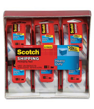"""Scotch Heavy-Duty Packaging Tape with Dispensers, Clear, 6-Pack, 1-1/2"""" Core"""