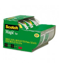 "Scotch 3/4"" x 8.3 yds Magic Tape with Dispensers, Clear, 3-Pack, 1"" Core"