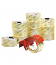 """Scotch Commercial Performance Packaging Tape with Dispenser, Clear, 3"""" Core, 12-Pack"""