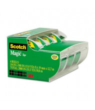 "Scotch 3/4"" x 8.3 yds Magic Tape with Dispensers, Clear, 4-Pack, 1"" Core"