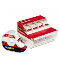 """Scotch Transparent Tape with Dispenser, Clear, 4-Pack, 1"""" Core"""