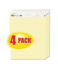"Post-it Self-Stick 25"" x 30-1/2"", 30-Sheet, 4-Pack, Yellow, Ruled Easel Pads"