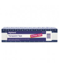 "Highland 3/4"" x 27.8 yds Transparent Tape, 1"" Core, Clear, 12-Pack"