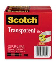 "Scotch 1"" x 72 yds Transparent Tape, 3"" Core, 3-Pack"