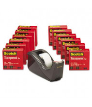 "Scotch Premium Transparent Tape with Dispenser, Black, 12-Pack, 1"" Core"