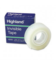 "Highland 3/4"" x 36 yds Invisible Permanent Mending Tape, 1"" Core, Clear"