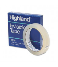 "Highland 3/4"" x 72 yds Invisible Permanent Mending Tape, 3"" Core, Clear"