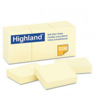 "Highland 1-1/2"" X 2"", 12 100-Sheet Pads, Yellow Sticky Notes"