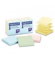 "Highland 3"" X 3"", 12 100-Sheet Pads, Self-Stick Pastel Sticky Notes"