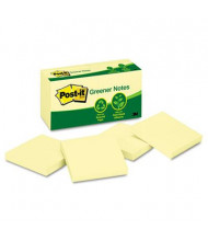 "Post-It 3"" X 3"", 12 100-Sheet Pads, Canary Yellow Greener Notes"