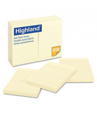 "Highland 4"" X 6"", 12 100-Sheet Pads, Lined Yellow Sticky Notes"